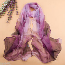 Women Fashion Chiffon Silk Long Soft Purple Lotus Flower Shawl Scarf Wraps Stole