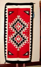 """Throw Rug Tapestry Southwest Western Hand Woven Wool 32x64"""" Replica #214"""