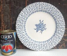 Royal Victoria blue & white ironstone cake plate Rose Bouquet made in England