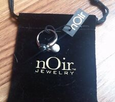 NOIR Black & White SILVER Marble Ball RING Size 7  BRAND NEW with TAGS