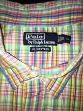 Vintage POLO RALPH LAUREN Cotton RL Western Plaid Pearl Snap XL Shirt