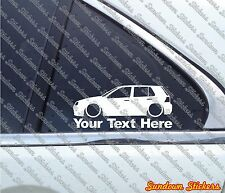 2x Custom YOUR TEXT Low car sticker - for VW Golf Mk4 R32 / GTi (5-Door)