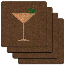 Martini Glass Olive Low Profile Cork Coaster Set