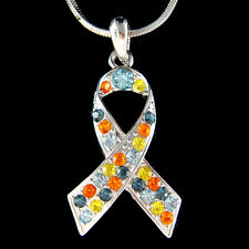 w Swarovski Crystal Child Autism Asperger Ribbon Cancer Awareness Charm Necklace