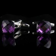 Purple Crystal Silver Color CUFFLINKS Executive Wedding Shirt Cuff Links GiftC25