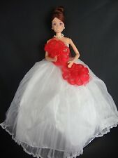 White Strapless Ball Gown with Large Red Flowers Made to Fit Barbie Doll