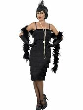 1920s LONG FLAPPER FANCY DRESS CHARLESTON COSTUME w/TASSELS 8 COLOURS