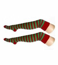 Women's Teen's Red & Green Stripe Elf Chrsitmas Over The Knee Socks Fancy Dress