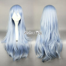 75cm Long Collection Light Blue Heat Resistant Wavy Cosplay Wig Anime Hair