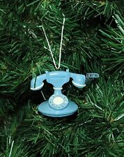 Vintage, Antique Looking Blue Telephone Christmas Ornament