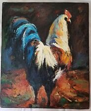Impressionism Original Oil Painting Rooster Signed