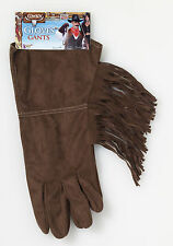 Brown Fringe Western Gloves Cowboy Costume Accessory Country Western Adult Size