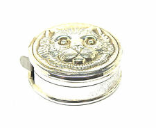 Sterling Silver Hallmarked Measuring Tape in Cat's Face Pendant