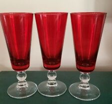 Red wine/champagne Glasses. Set of three. 6 3/4 high.