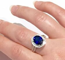 4.5 CT  Blue Sapphire Ring w/ Diamond Halo in 14K Gold