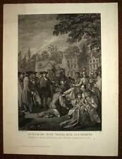 GUILLAUME PENN TRAITE AVEC LES INDIENS gravure estampe originale de 1772