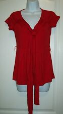 Banana Republic blouse top shirt womens size S Red short sleeves tie front