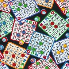 Bingo Cards and Number Markers on Black Cotton Fabric by the Yard