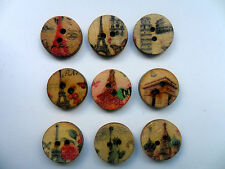 25pcs Vintage Style Famous Buildings Wood  Scrapbooking / Sewing Buttons 15mm