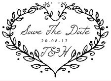 Personalised Laser Rubber Stamp - Save The Date: Heart Vine