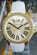 Authentic Michael Kors MK2394 'Kacie' Gold Tone Dial & White Leather Strap Watch