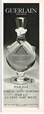 PUBLICITE ADVERTISING   104  1965  GUERLAIN   CHANT D'AROME & habit rouge PARFUM