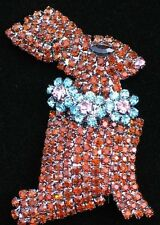 PRONG SET BROWN RHINESTONE SPRING CHOCOLATE EASTER BUNNY RABBIT PIN BROOCH 2""
