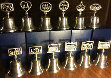 CROWN & ROSE COMPLETE SET OF 12 DAYS OF CHRISTMAS PEWTER BELLS IN ORIGINAL BOXES