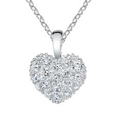 "Minxwinx Pave Heart Necklace all simulated Diamond look bling with 18"" Chain"