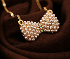 Fashion Charm jewelry bow Pearl Crystal vintage long Pendant Chain Necklace N51