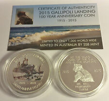2015 GALLIPOLI MEMORIAL 1 Oz COIN WITH C.O.A. LTD 1,000 (NO TIN) HSE