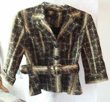 Woman's Brown/Beige Belted Jacket w/ 3/4 sleeves from Grace Elements Size 8