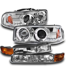 1999-2006 GMC SIERRA YUKON CHROME HALO LED PROJECTOR HEAD LIGHT+SIGNAL LAMP PAIR