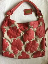 Big Buddha Thalia Coral Red Tote Shoulder Bag Handbag Floral Beach Bag Canvas