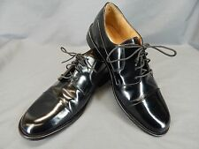 Pronto Uomo Men's Leather Cap Toe Black Dress Shoes Oxfords Size 10 M.