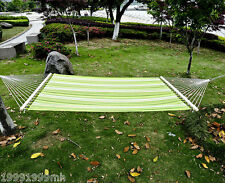 """Outsunny 75"""" Striped Outdoor Camping Hammock Lounge Bed Garden w/ Pillow"""