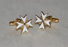 Knights of Malta 8 pointed White Cross Cufflinks (CF024)