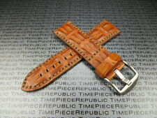 24mm PAM 1950 Gold Brown GATOR HORNBACK Strap Leather Tang Watch Band