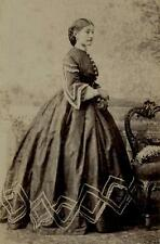 CDV: Mrs Raleigh King in hooped dress with patterned hem. Grillet, Naples c.1860