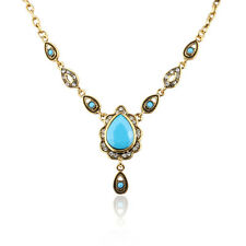 Vintage Jewelry Teardrop Cubic Zircon Gold Plated Lady Girl Pendant Necklace