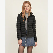 New Abercrombie Womens Down Series Lightweight Puffer Jacket Coat Black Size L