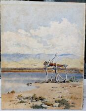 19th CENTURY UNFRAMED WATERCOLOUR OF THE DEAD SEA IN ISRAEL - GAB CARELLI