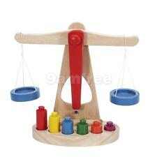 Children Toy Xmas Gift Educational Teaching Balance Scale w/ Wooden Weights
