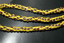 Strang gestreifte Glasperlen Seed Beads aus Ghana ( Trade Beads ) 4mm
