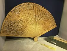 Vintage Ladies Chinese Carved Folding Hand Fan Wood Gorgeous Comes With Fan Box