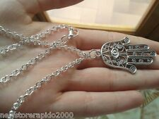collana con mano di fatima in argento indiano portafortuna talismano charm hamsa