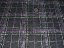ITALIAN WOOL CHECK-BLACK/AUBERGENE/ECRU-SUITING FABRIC -FREE P+P