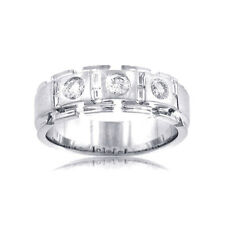 1.50 Ct. TW Men's Round and Baguette Diamond Wedding Band 18 kt White Gold