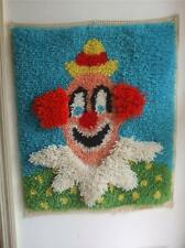 "Vintage 1980's Completed Latch Hook Rug Wall Hanging Clown 25"" x 21"""