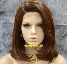 "22"" Brown Mix Lace Front Wig Natural Hair Part Heat Ok Hair Piece #P4/27/30 NWT"